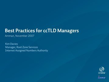Best Practices for ccTLD Managers - (ISOC) Workshop Resource ...