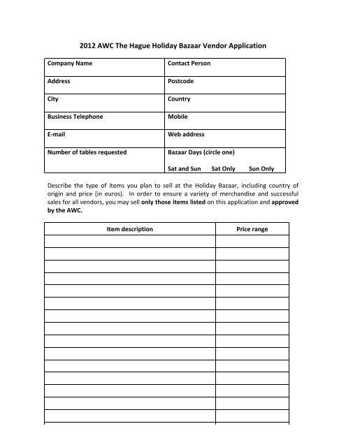 2012 AWC The Hague Holiday Bazaar Vendor Application