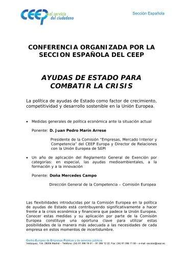 ayudas de estado para combatir la crisis - Sección Española del ...