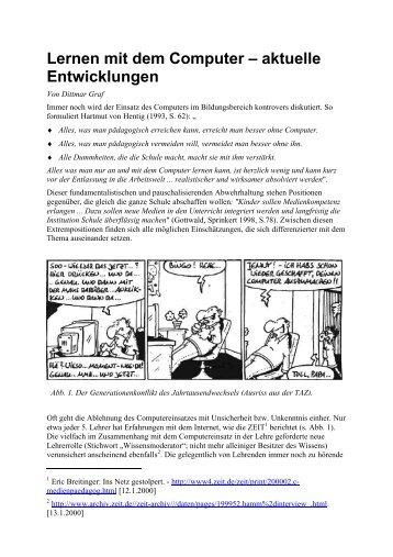 Lernen mit dem Computer – aktuelle Entwicklungen - Biologie TU ...