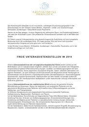 Freie Stellen für Unterassistenten 2014 - Kantonsspital Obwalden
