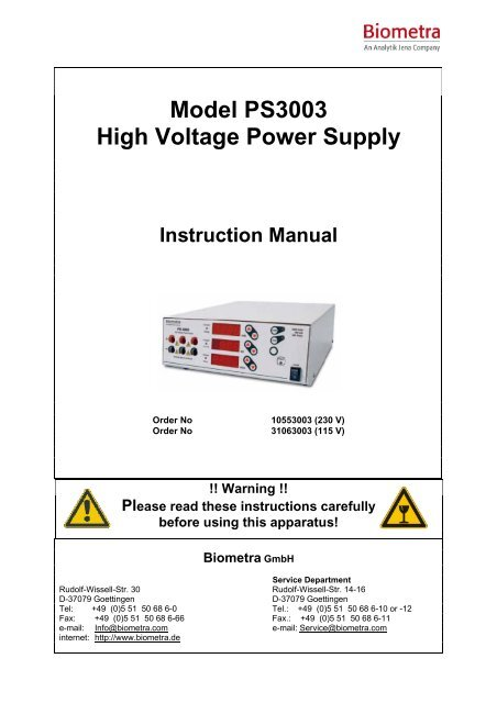 Model PS3003 High Voltage Power Supply Instruction ... - Biometra