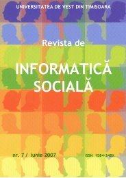 No 7 - Journal of Social Informatics / Revista de Informatica Sociala