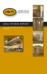 Three month period ended June 30, 2004 - Petrofield Industries
