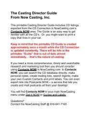 The Casting Director Guide From Now Casting,  Inc. -  NowCasting.com