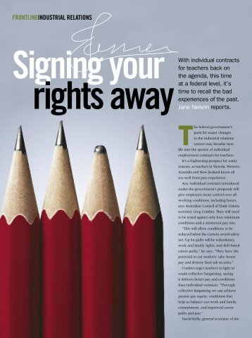 Signing your rights away - Australian Education Union
