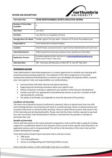 Intern Job Description Team Northumbria Sports ...   Sport Central
