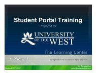 Student Portal Training - University of the West