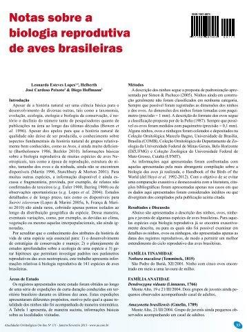 Notas sobre a biologia reprodutiva de aves brasileiras - Atualidades ...