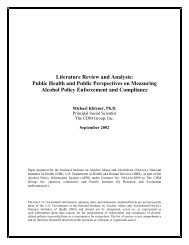 Literature Review and Analysis - the Alcohol Policy Information System