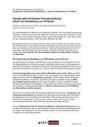 Vierzig Jahre Schweizer Fernsehwerbung - Publisuisse SA