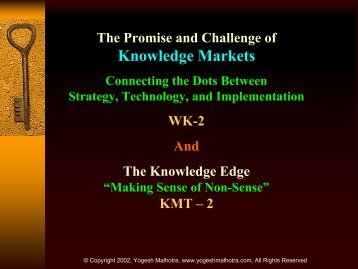 KM, Strategy, & Marketing; More on Knowledge Markets