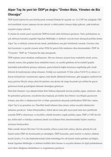 """Alper Taş ile yeni bir ÖDP'ye doğru """"Üreten Biziz, Yöneten de Biz Olacağız.pdf"""