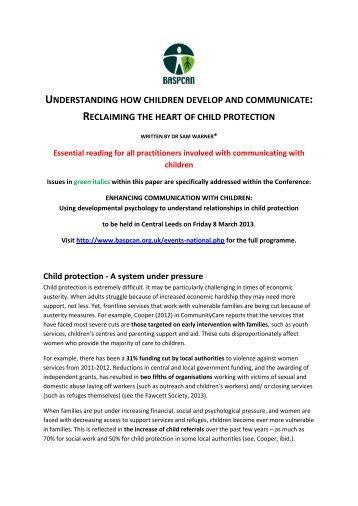 understanding how children develop and communicate - BASPCAN