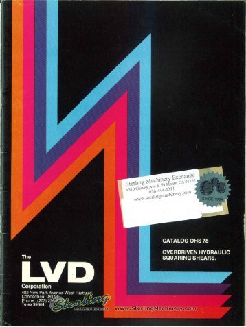 LVD Overdriven Hydraulic Sqaring Shears Brochure - Sterling ...