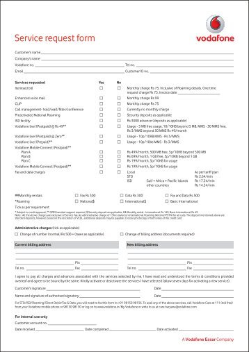 Service Request Form - Vodafone
