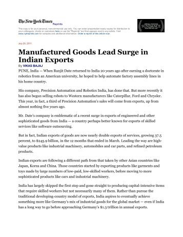 Manufactured Goods Lead Surge in Indian Exports - Eswar Prasad ...
