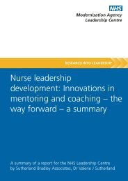 'Nurse Leadership Development' (PDF) - Manchester Business School