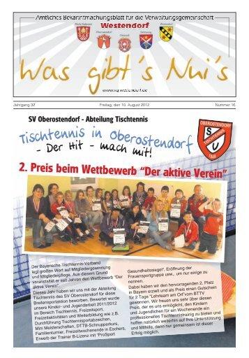 Abteilung Tischtennis 2. Preis beim Wettbewerb - VG-Westendorf