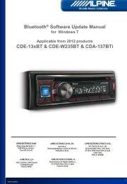 CDE-13xBT BT FW Update - Alpine Europe