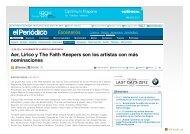 Aer, Lírico y The Faith Keepers son los artistas con ... - SALA LÓPEZ