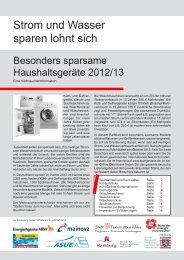 Besonders sparsame Haushaltsgeräte 2012/2013 - VG Asbach