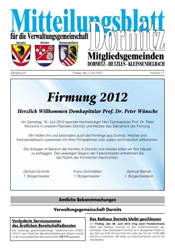 Firmung 2012 Herzlich Willkommen Domkapitular ... - der VG Dormitz