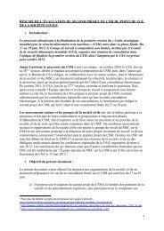 Résumé de l'évaluation du Second Projet du CSM du Point de Vue ...