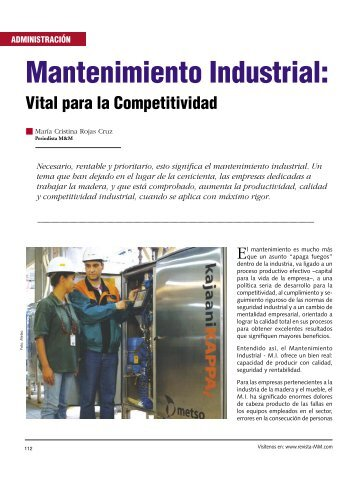 Mantenimiento Industrial: - Revista El Mueble y La Madera