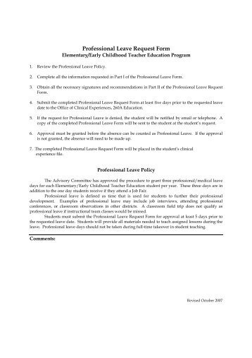 Staff Leave Request Form - Department Of Political Science