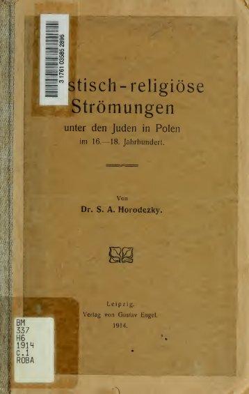 Mystisch-religiöse Strömungen unter den Juden in Polen im 16.-18 ...