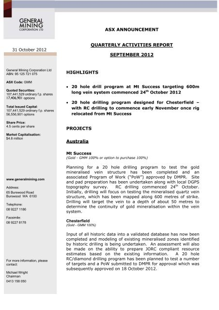 31 October 2012 Quarterly Activities Report ... - General Mining