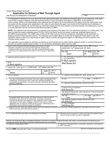 Application for Delivery of Mail Through Agent - USPS.com