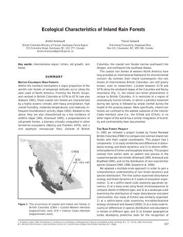 Ecological Characteristics of Inland Rain Forests