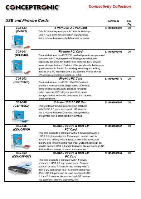 CONCEPTRONIC FIREWIRE CARD CI1394B DRIVERS WINDOWS XP