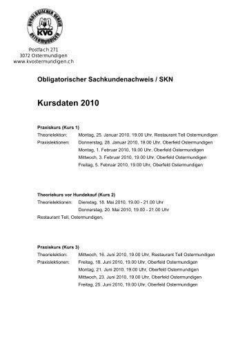 Obligatorischer Sachkundenachweis / SKN Kursdaten 2010