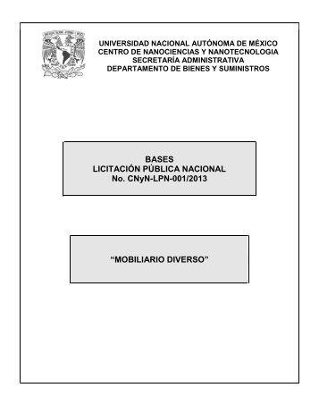 BASES LICITACIÓN PÚBLICA NACIONAL No. CNyN-LPN-001/2013