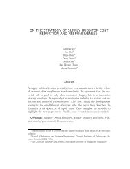 on the strategy of supply hubs for cost reduction and responsiveness1