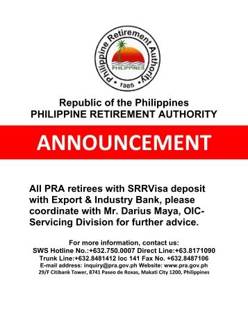 philippine retirement authority Posts about philippine retirement authority written by uk immigration tourist visa at the philippine embassy in your country of residence for an initial.