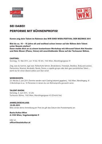 SEI DABEI! PERFORME MIT BÜHNENPROFIS! - Basis.Kultur.Wien
