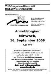 VHS-Programm Höchstädt Herbst/Winter 2009/2010