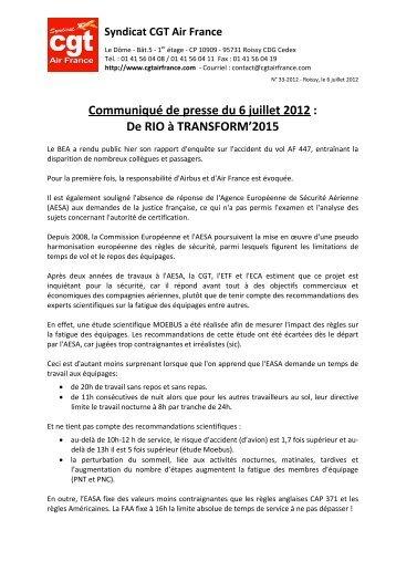 Communiqué de presse du 6 juillet 2012 - Fédération CGT des ...
