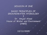 Basic principles of groundwater hydrology I (Session ... - Hwe.org.ps