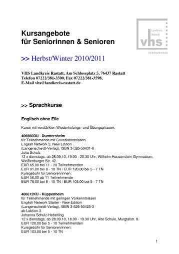 Kursangebote für Seniorinnen & Senioren - VHS Landkreis Rastatt