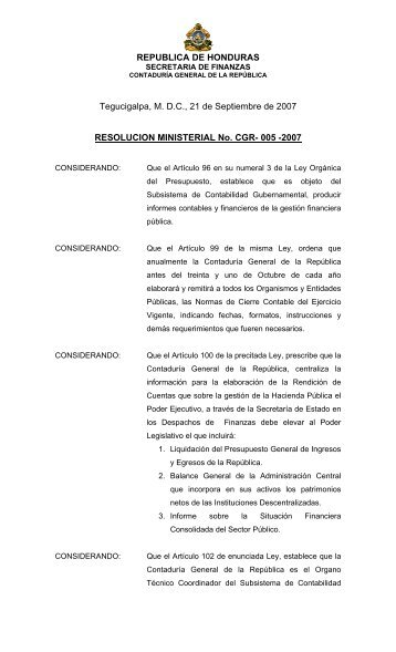 REPUBLICA DE HONDURAS Tegucigalpa, MDC, 21 de Septiembre ...