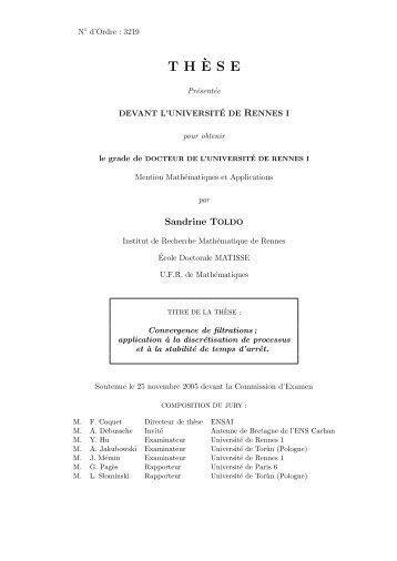 T H`ESE - ENS de Cachan - Antenne de Bretagne