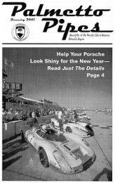 Palmetto Pipes January 2001 - Porsche Club of America, Palmetto ...