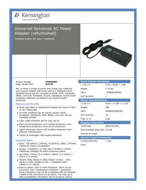 Universal Notebook AC Power Adapter (refurbished)