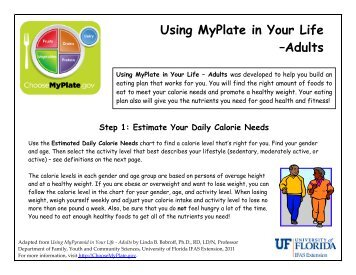 Using MyPlate in Your Life –Adults - University of Florida Family ...