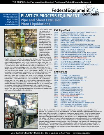 PlaStiCS ProCeSS equiPment Pipe and Sheet extrusion Plant ...